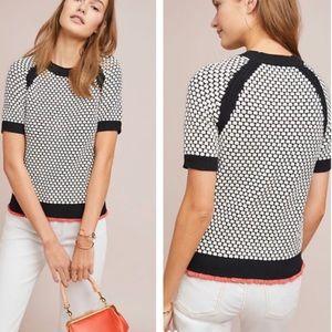 ANTHROPOLOGIE Moth Pebble Short Sleeve Sweater-L